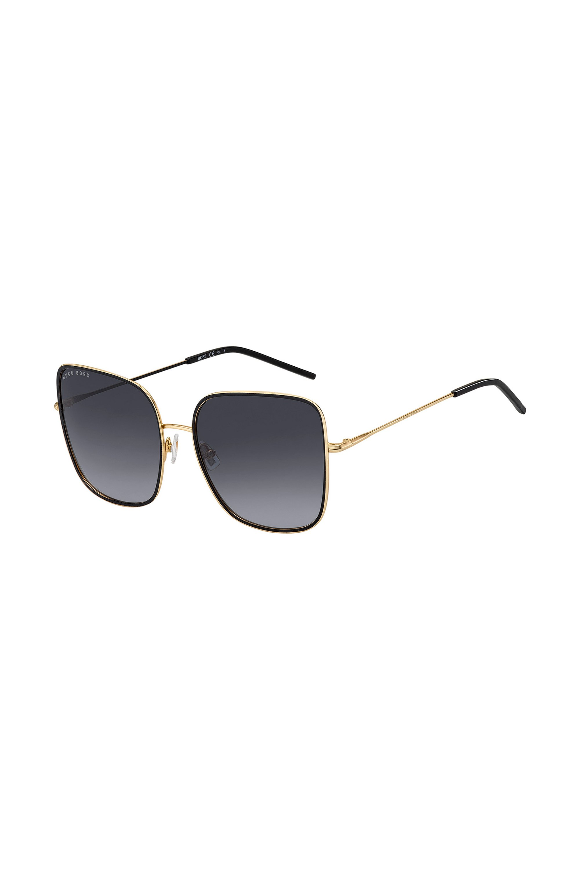 Grey-shaded sunglasses with black and gold finishes, Assorted-Pre-Pack