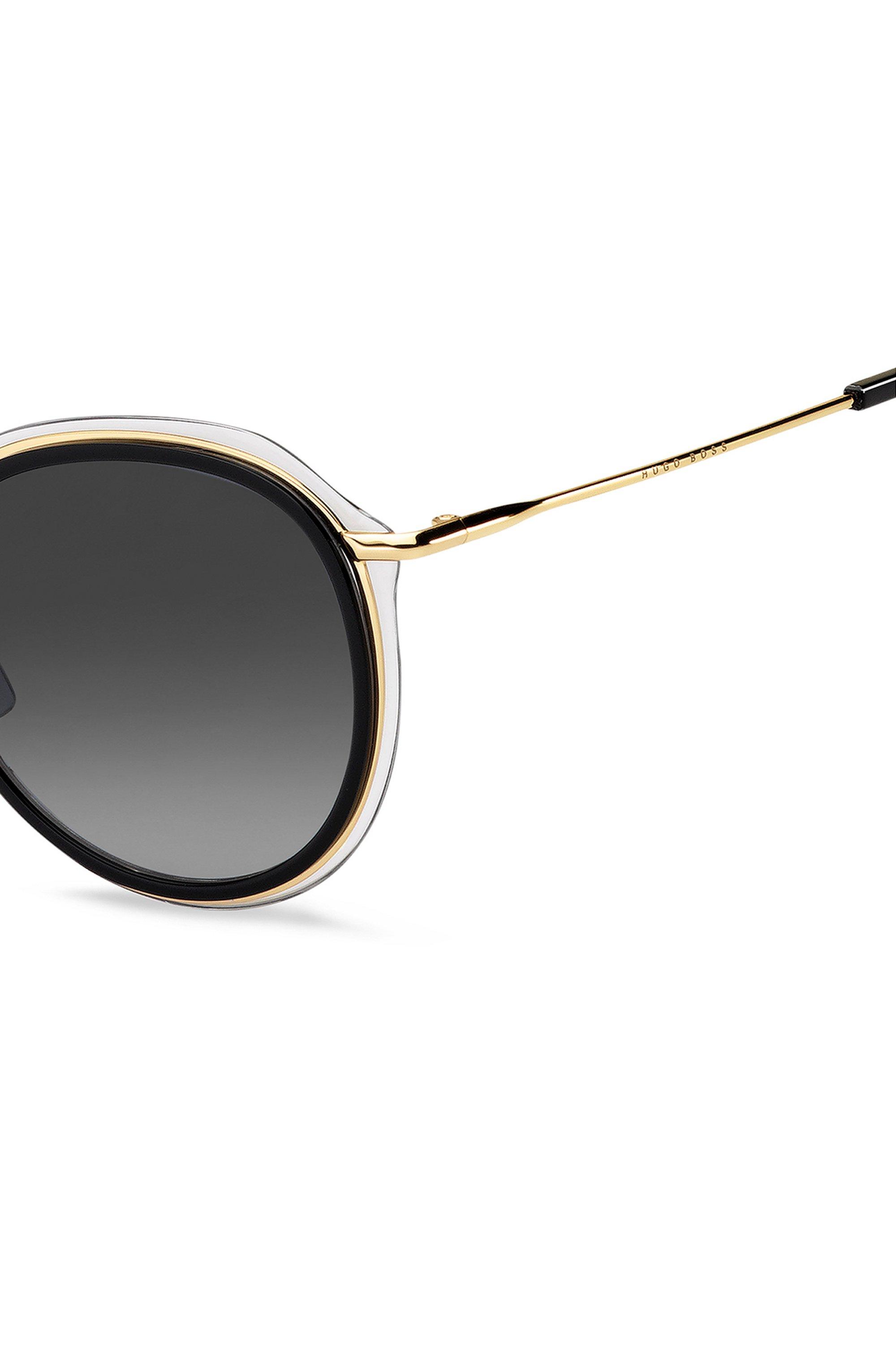Hybrid sunglasses in gold-tone metal and black acetate