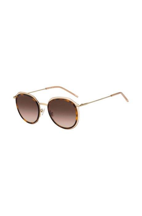Ronde havanna-zonnebril van acetaat met nudekleurige rand, Assorted-Pre-Pack