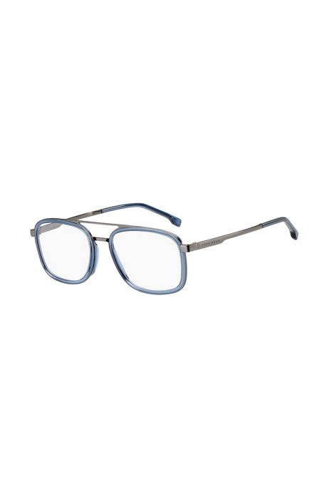 Occhiali da vista in acetato blu con ponte doppio, Assorted-Pre-Pack