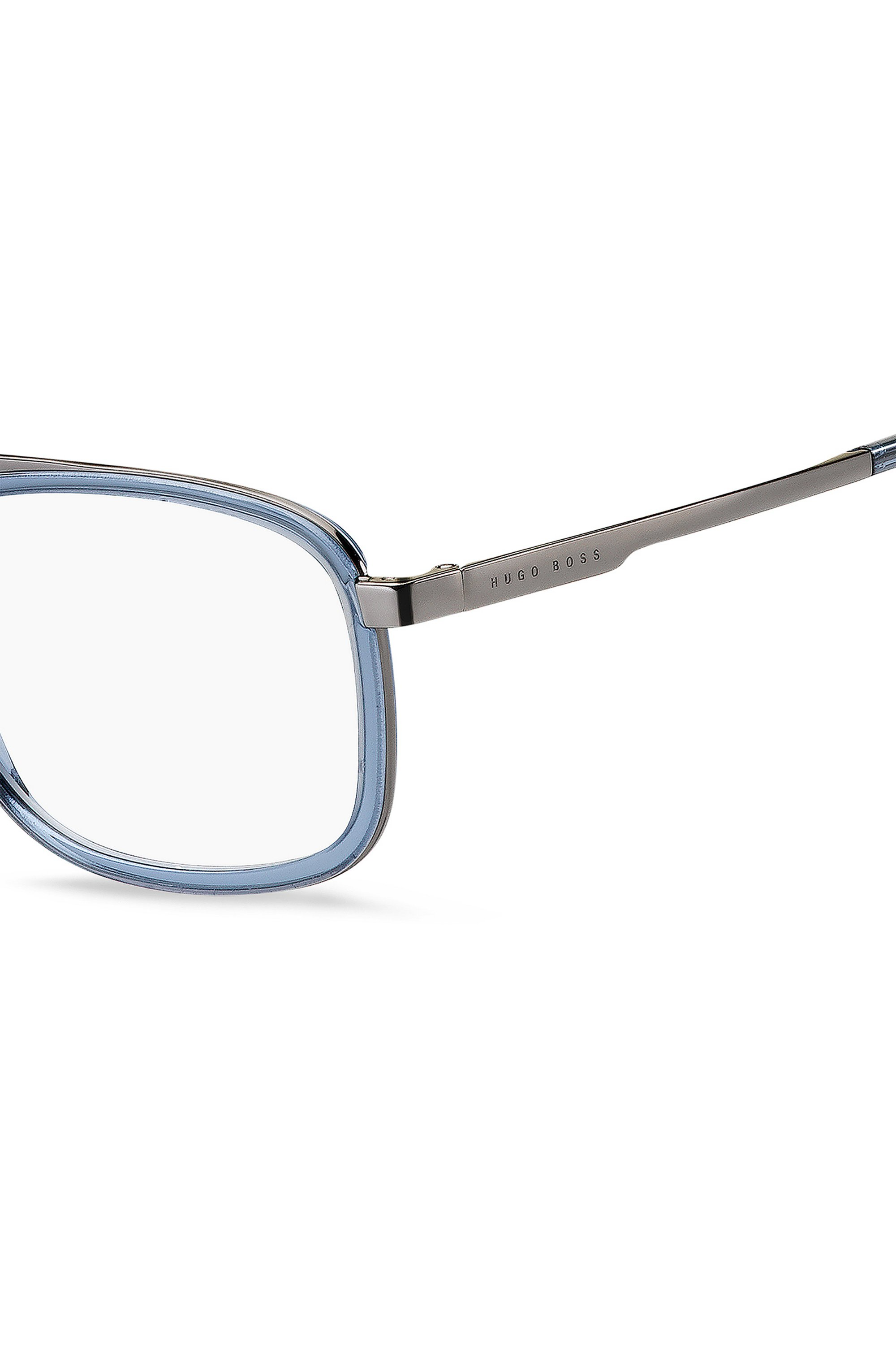 Optical frames in blue acetate with double bridge