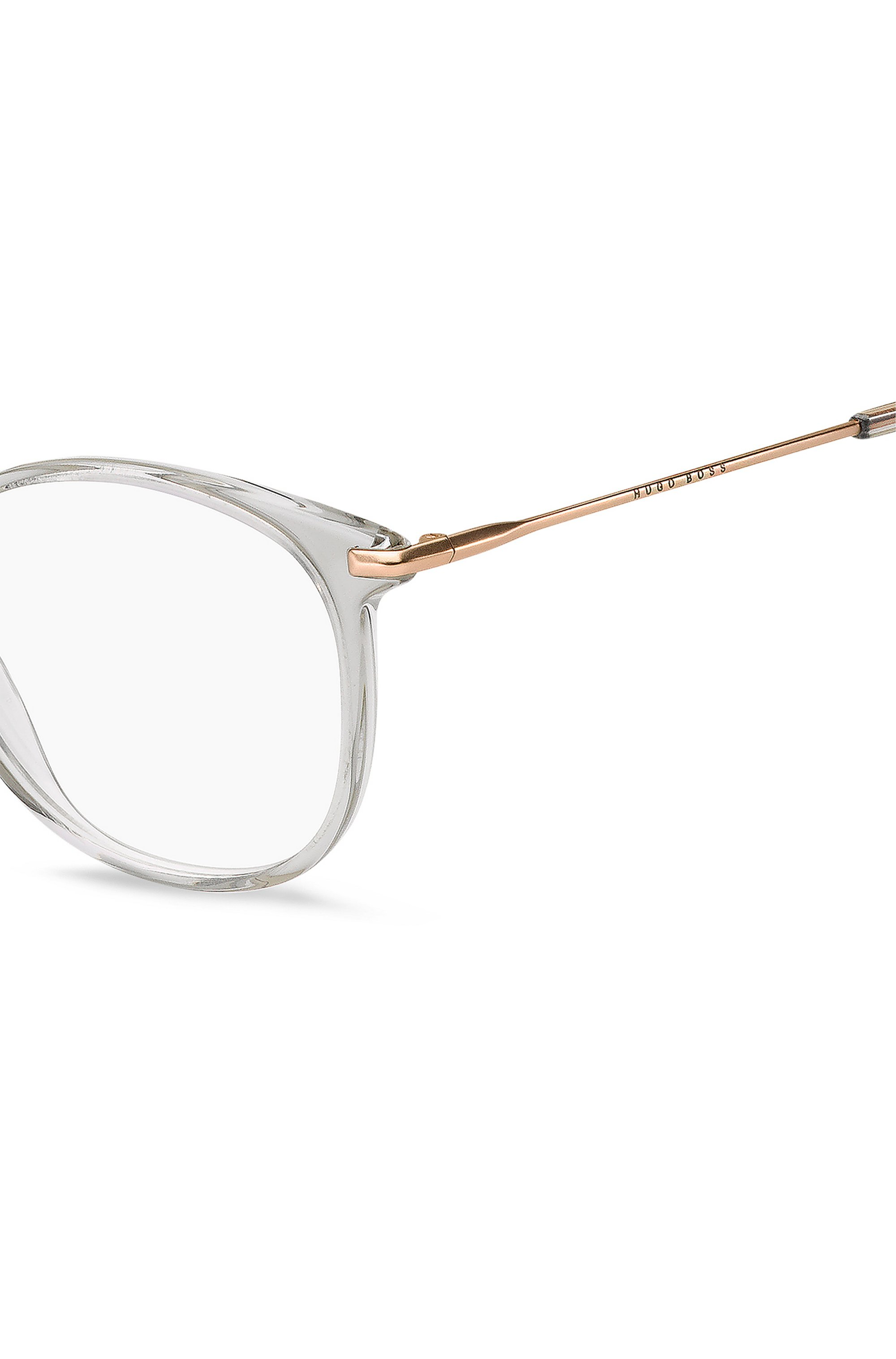 Grey-acetate optical frames with gold-tone temples