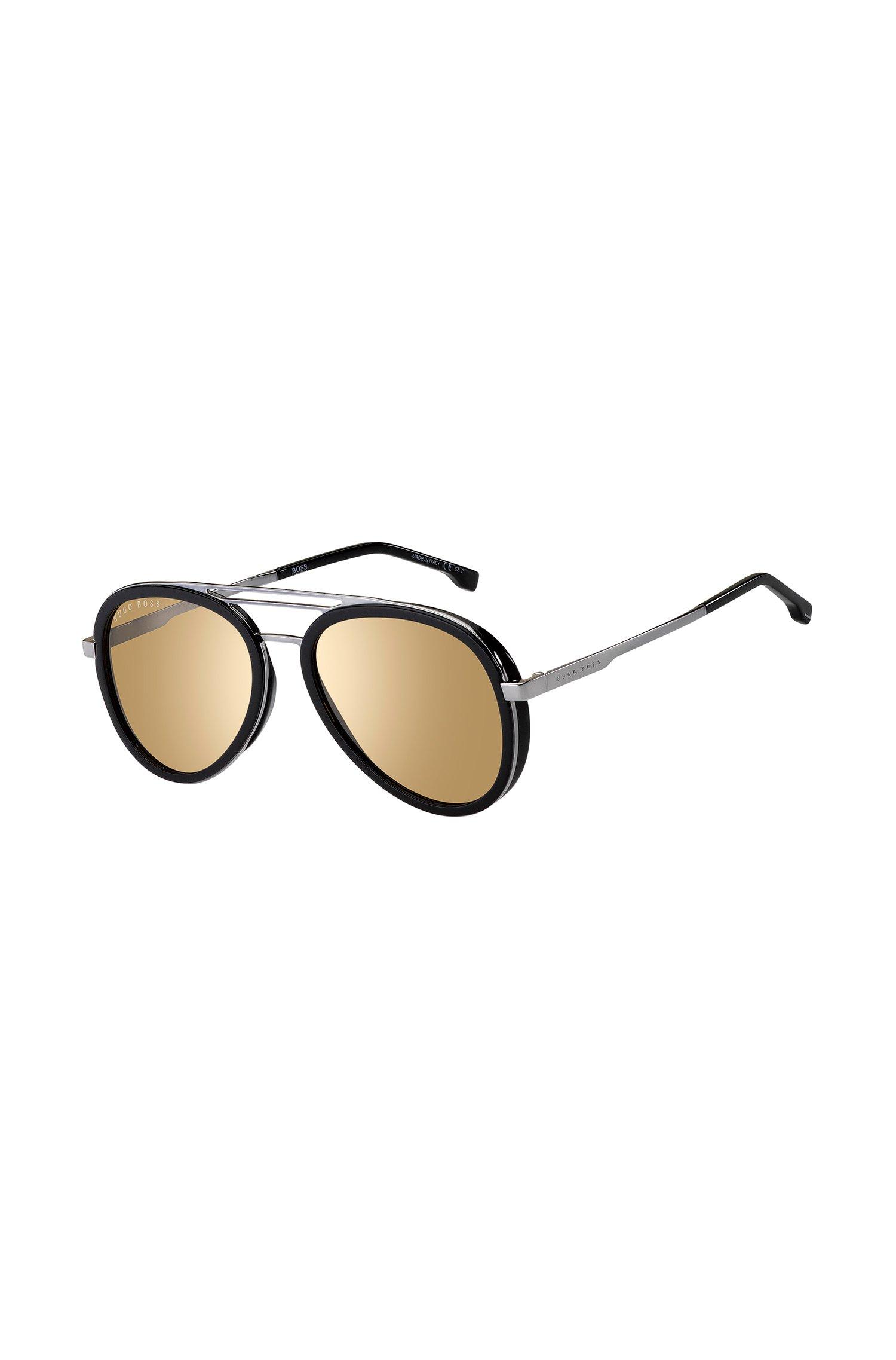 Zonnebril met drie neusbruggen en zwart en zilverkleurig montuur, Assorted-Pre-Pack