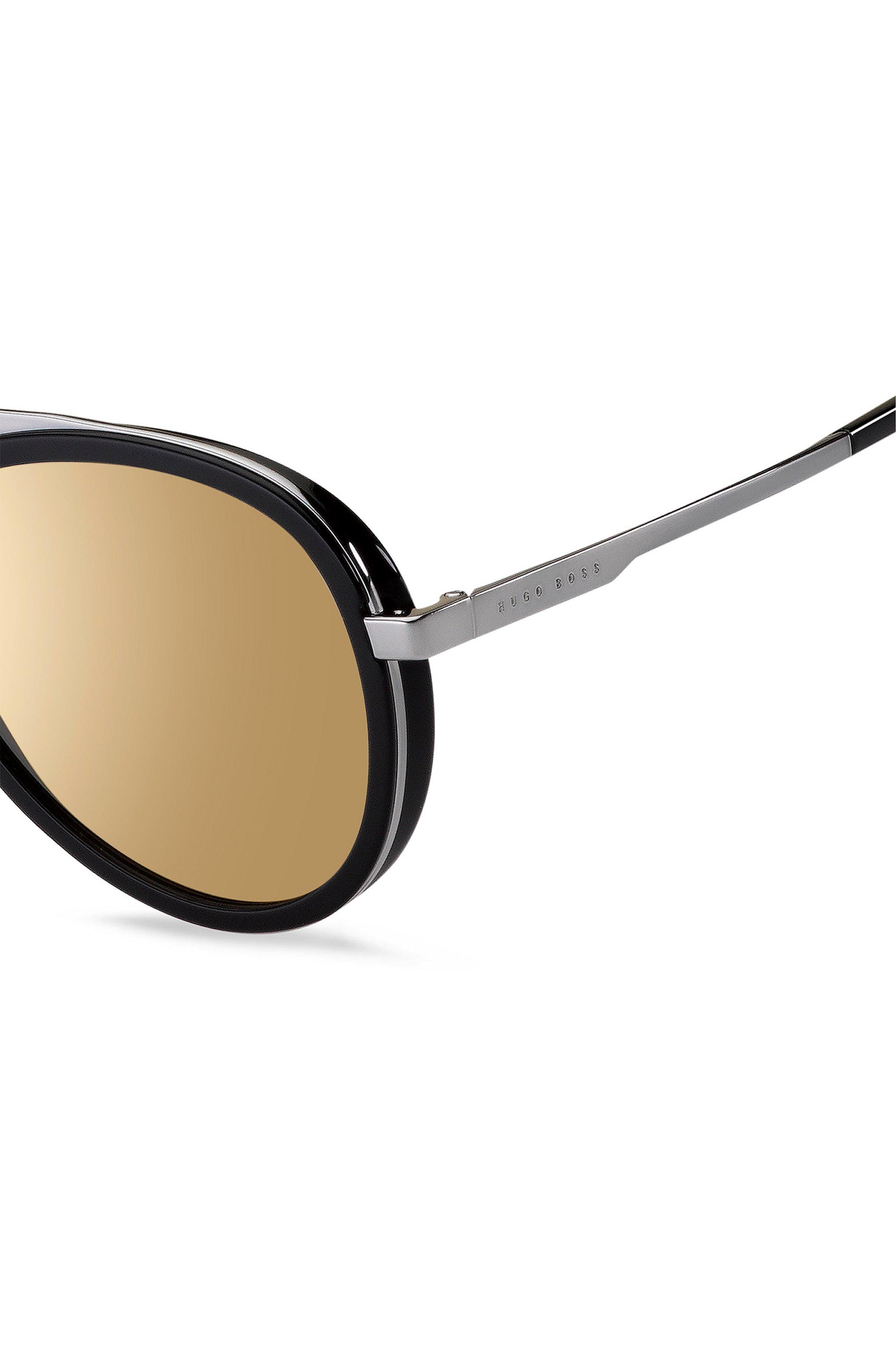 Triple-bridge sunglasses with black and silver-tone frames