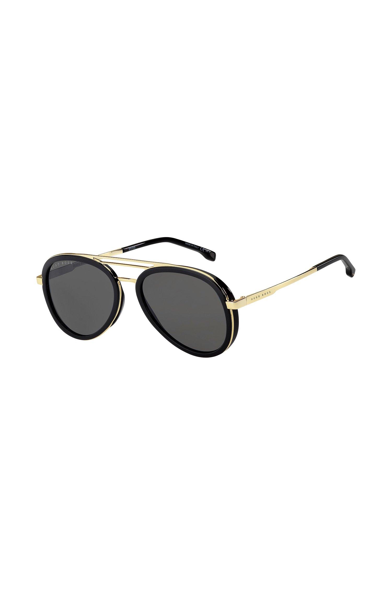 Zonnebril met drie neusbruggen en zwart en goudkleurig montuur, Assorted-Pre-Pack
