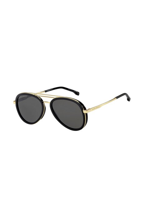 Triple-bridge sunglasses with black and gold-tone frames, Assorted-Pre-Pack