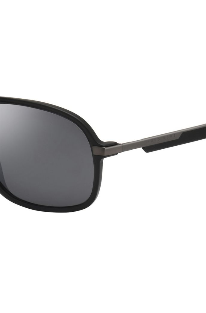 Chunky-frame black sunglasses with patterned temples
