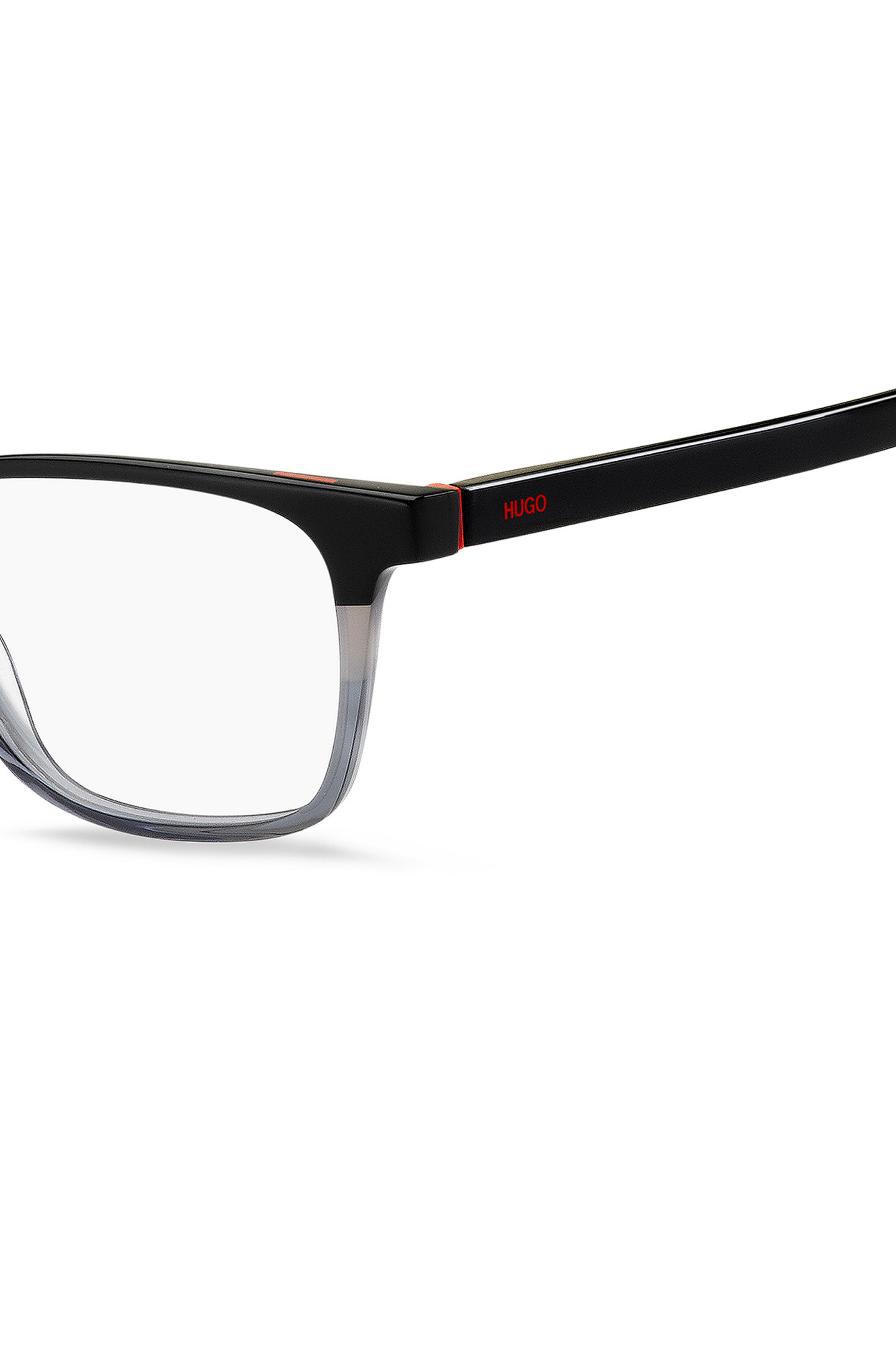 Angular optical frames in acetate with colour-blocking