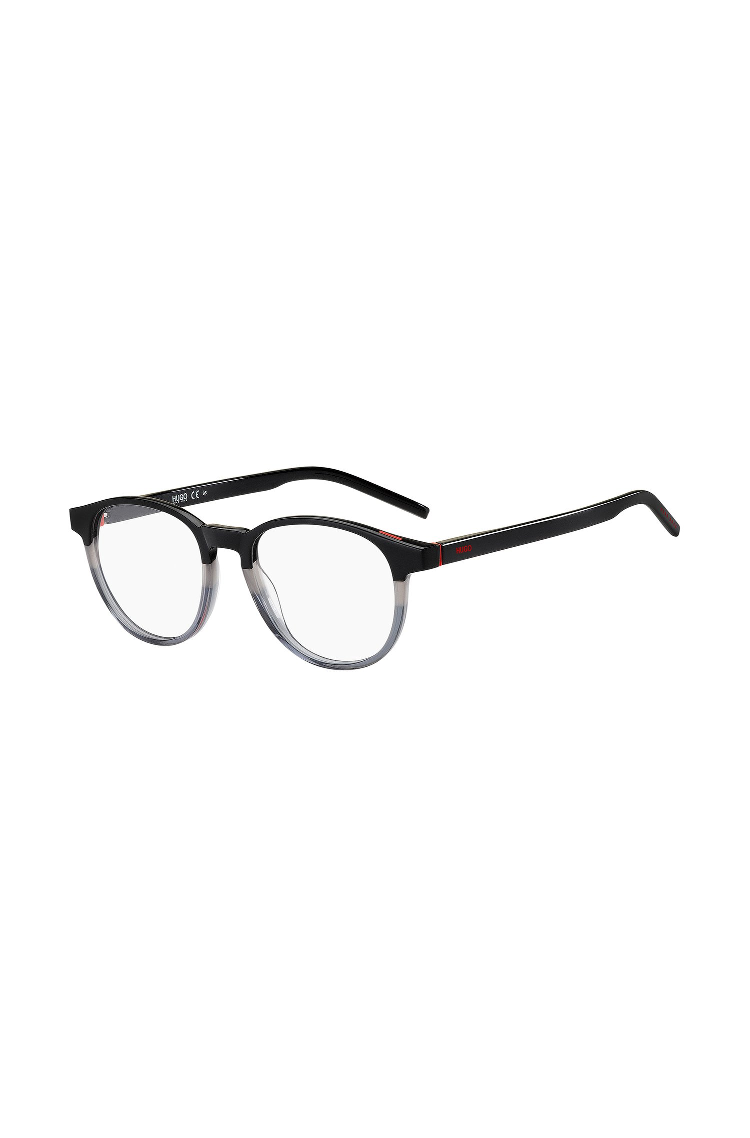 Round optical frames in acetate with colour-blocking, Assorted-Pre-Pack