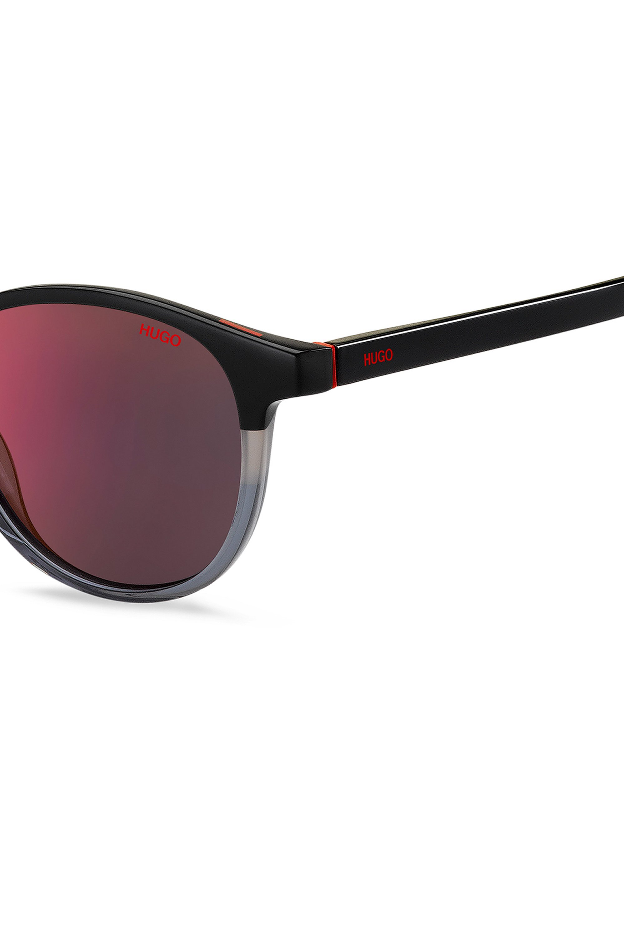 Round sunglasses with colour-blocking and red mirrored lenses