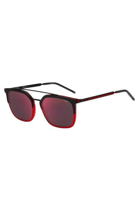Occhiali da sole con in nero e rosso con doppio ponte, Assorted-Pre-Pack