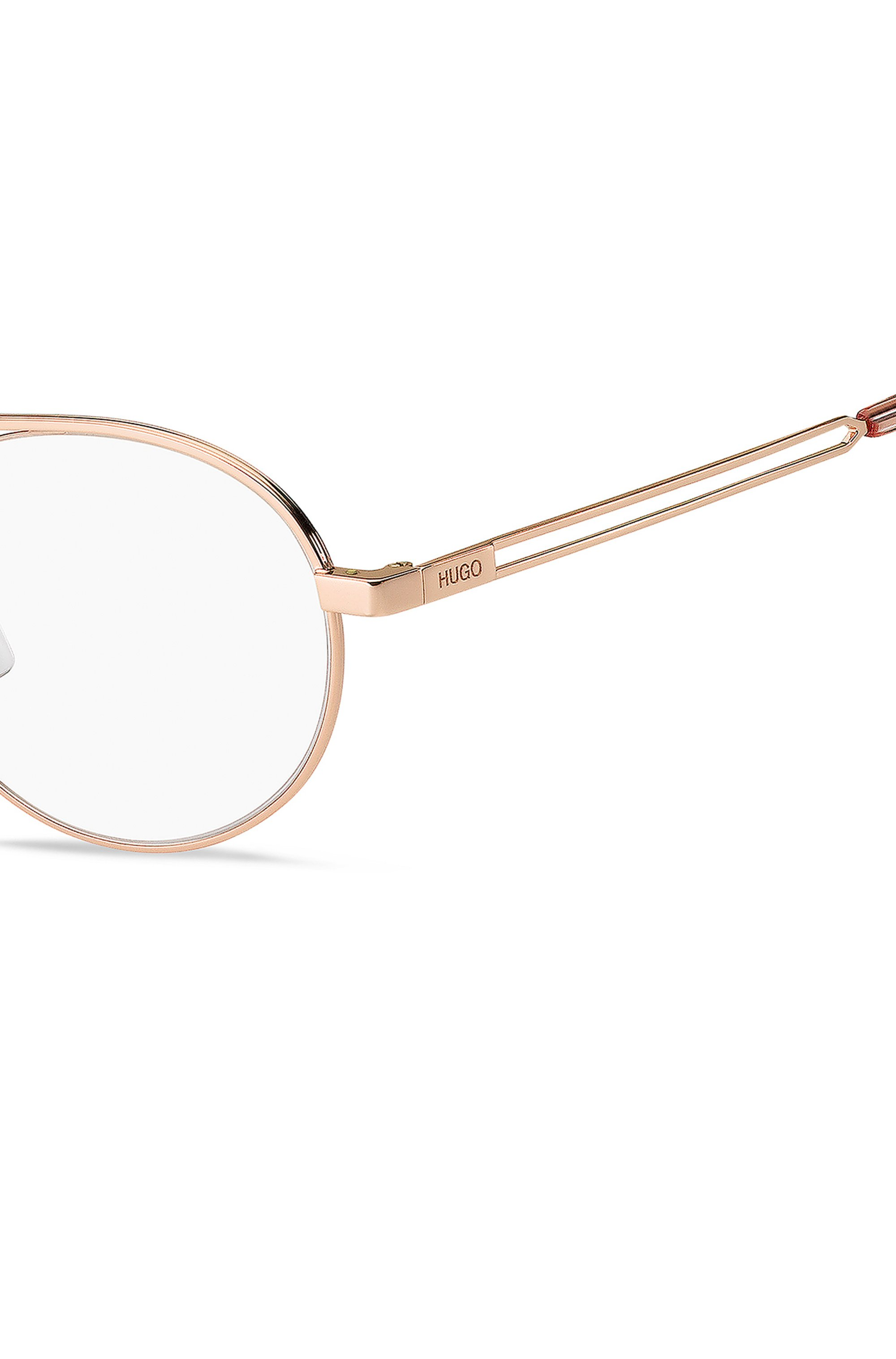 Optical frames with rose-gold finish and forked details