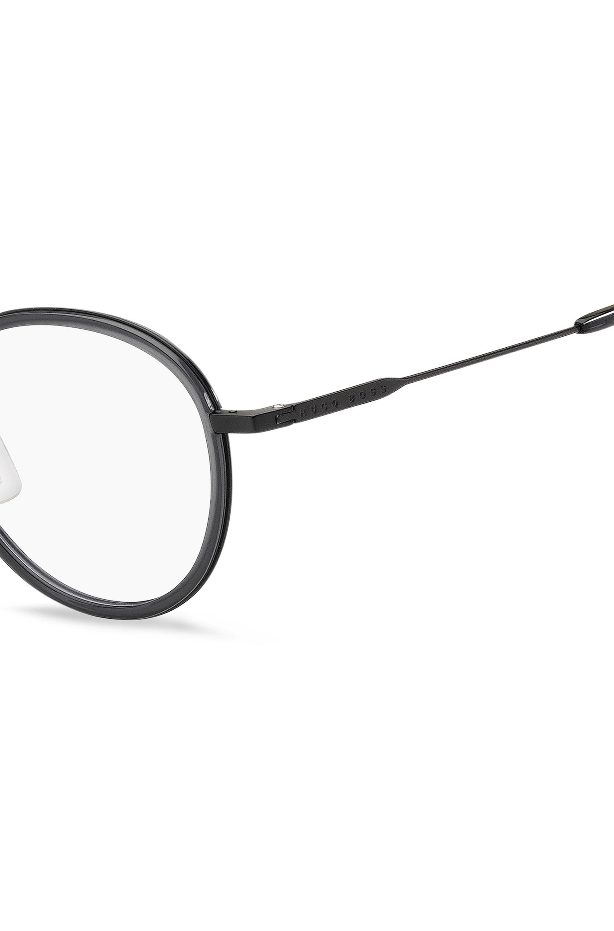 Round optical frames in matte grey-black