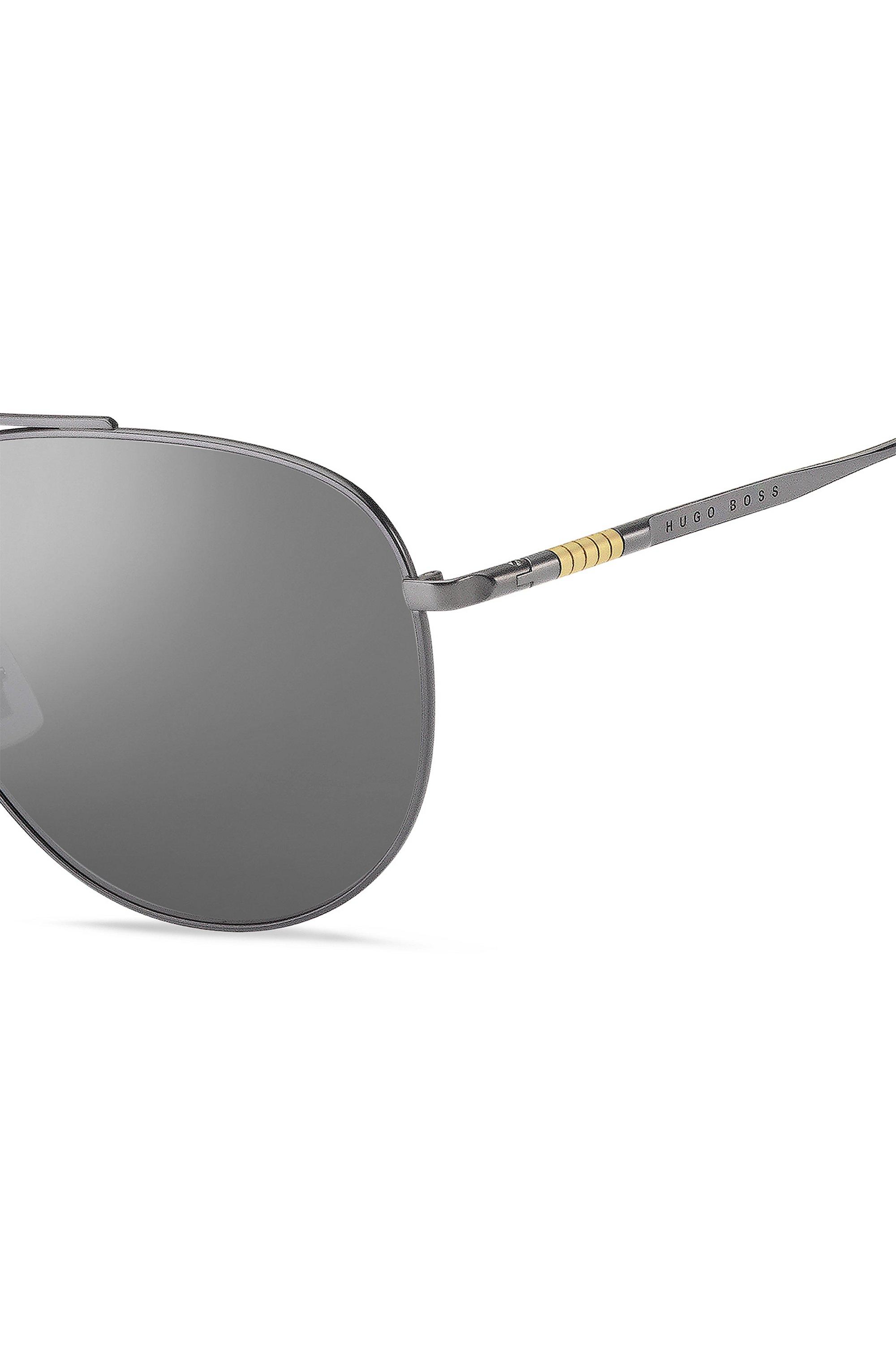 Double-bridge sunglasses with silver mirrored lenses