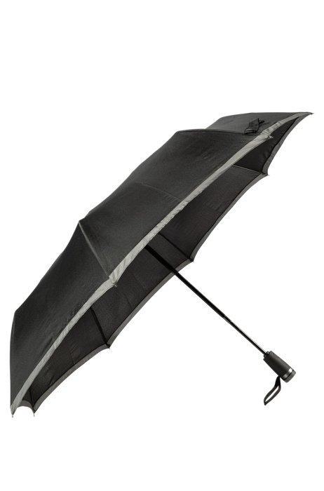 Taschenschirm mit grauem Rand, Schwarz