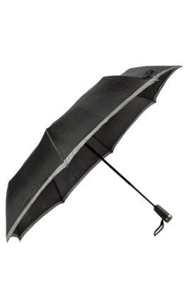 Pocket umbrella with grey border, Black