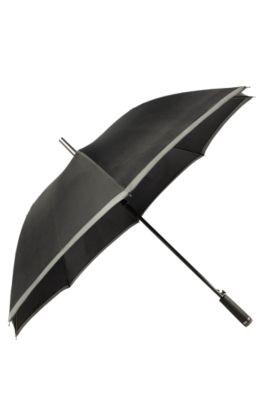 Parapluie à ouverture automatique avec bords gris, Noir