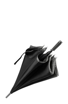 Automatic-release umbrella with grey border, Black