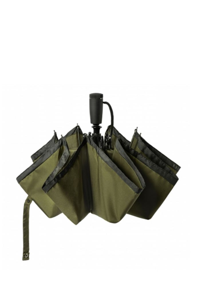 Khaki pocket umbrella with black border