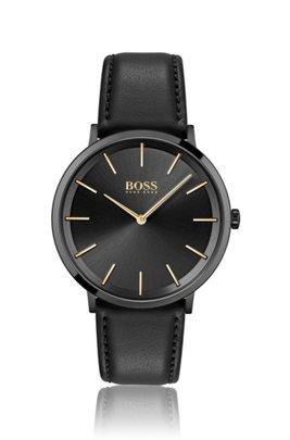 Montre plaquée noire à deux aiguilles, avec bracelet en cuir, Assorted-Pre-Pack