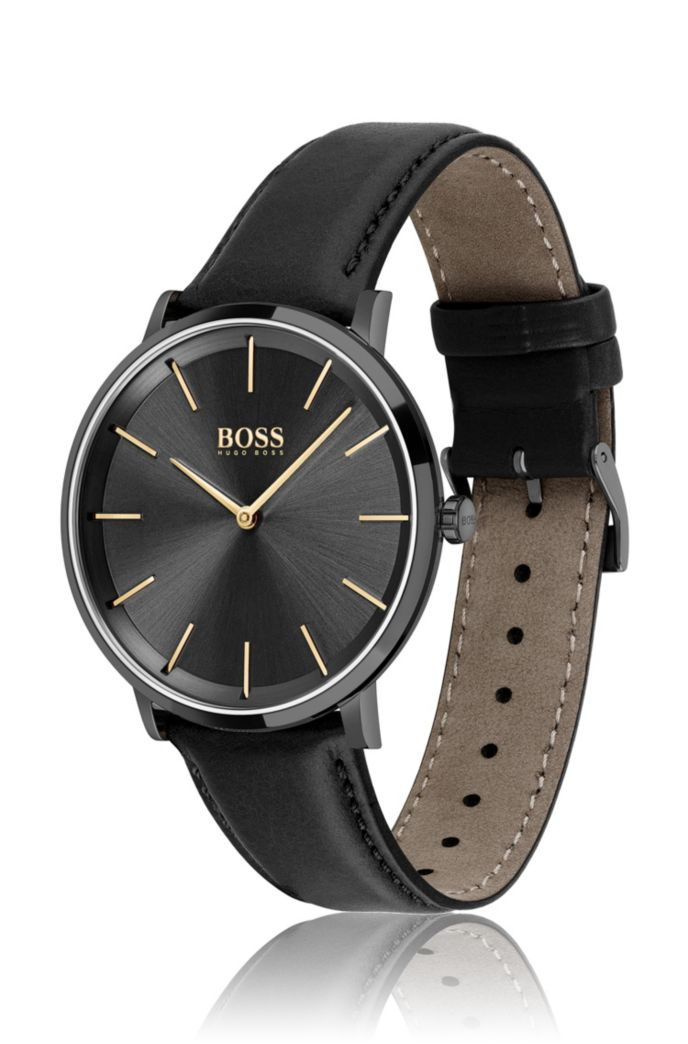 Black-plated two-hand watch with leather strap