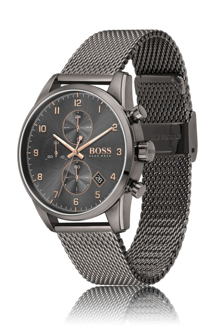 Grey-plated watch with mesh bracelet