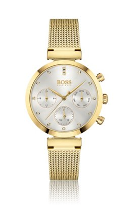 Yellow-gold-finish watch with crystal markers, Assorted-Pre-Pack