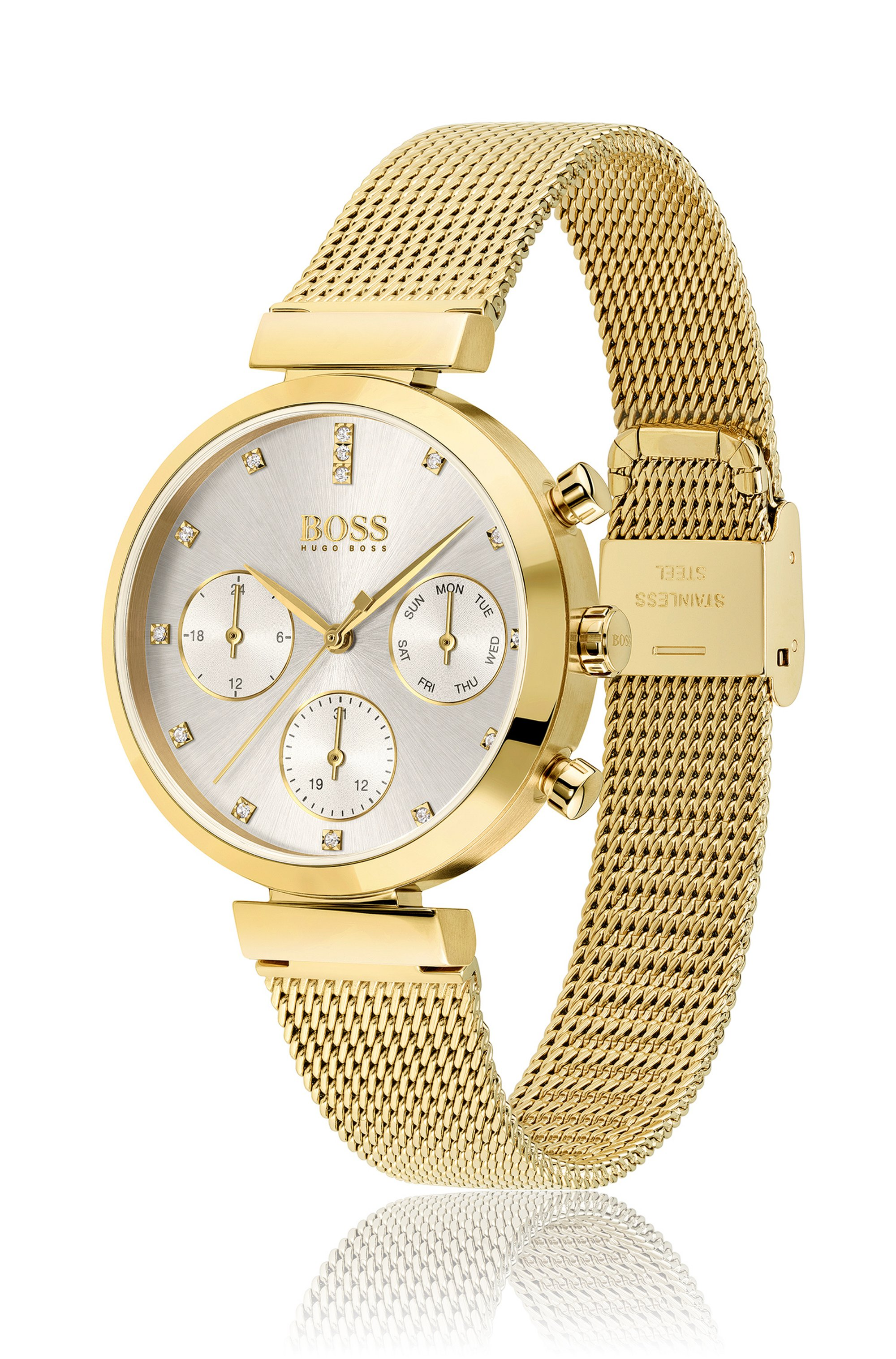 Yellow-gold-finish watch with crystal markers