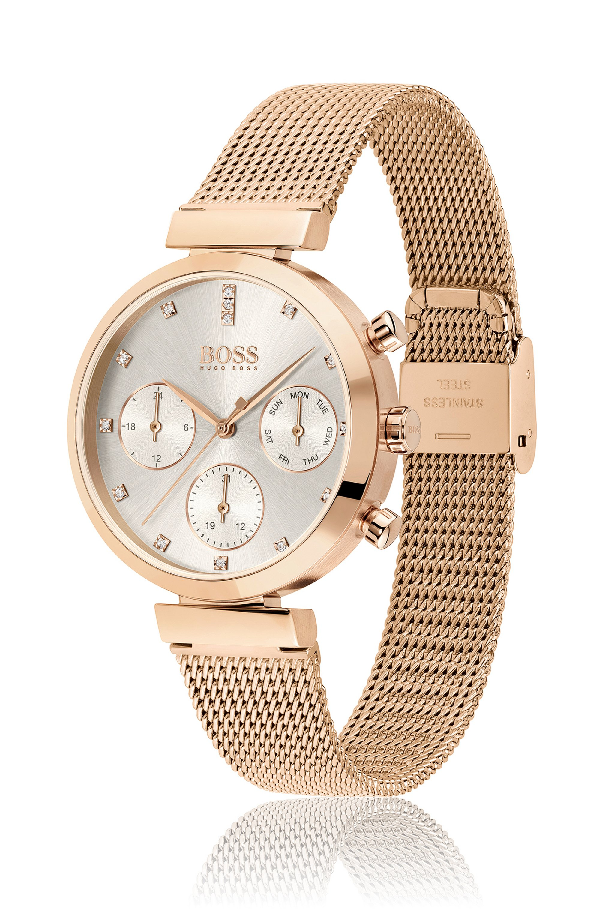 Carnation-gold-finish watch with crystal markers