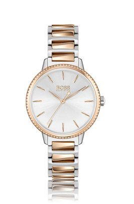 Two-tone watch with trimmed bezel, Assorted-Pre-Pack