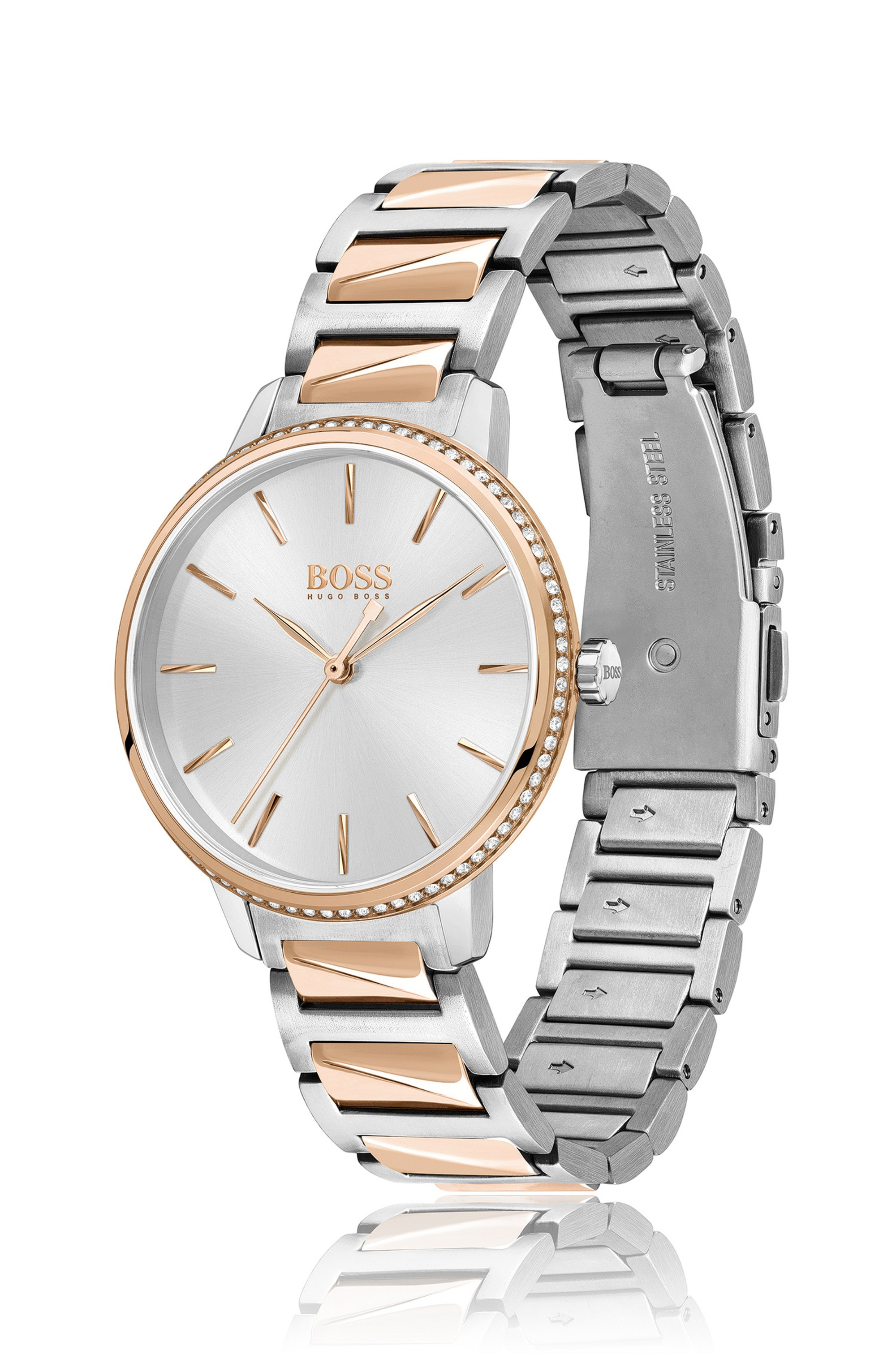 Two-tone watch with trimmed bezel