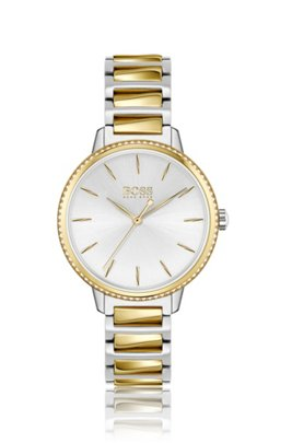 Two-tone watch with Swarovski®-trimmed bezel, Assorted-Pre-Pack