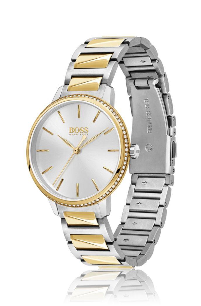 Two-tone watch with Swarovski®-trimmed bezel