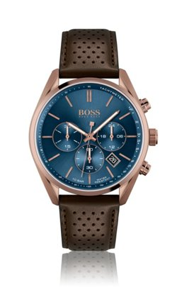 Blue-dial watch with perforated brown leather strap, Assorted-Pre-Pack