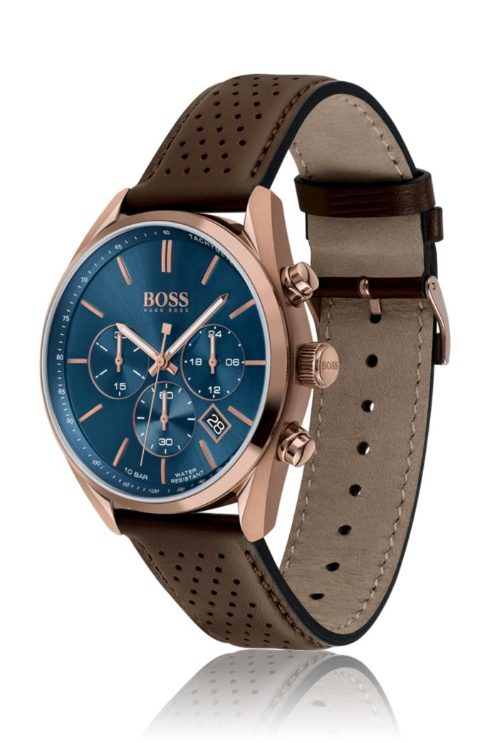 Blue-dial watch with perforated brown leather strap