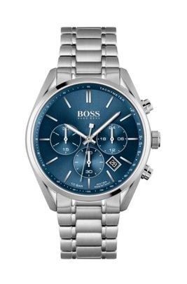 Uhr aus Edelstahl mit blauem Zifferblatt und Gliederarmband, Assorted-Pre-Pack