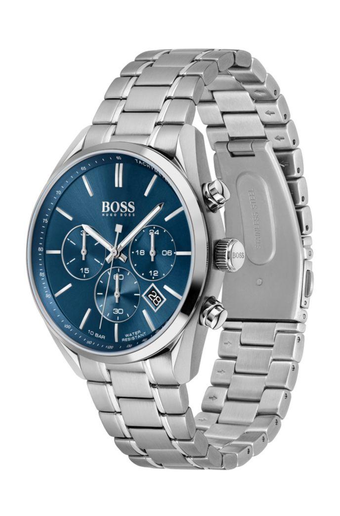Uhr aus Edelstahl mit blauem Zifferblatt und Gliederarmband