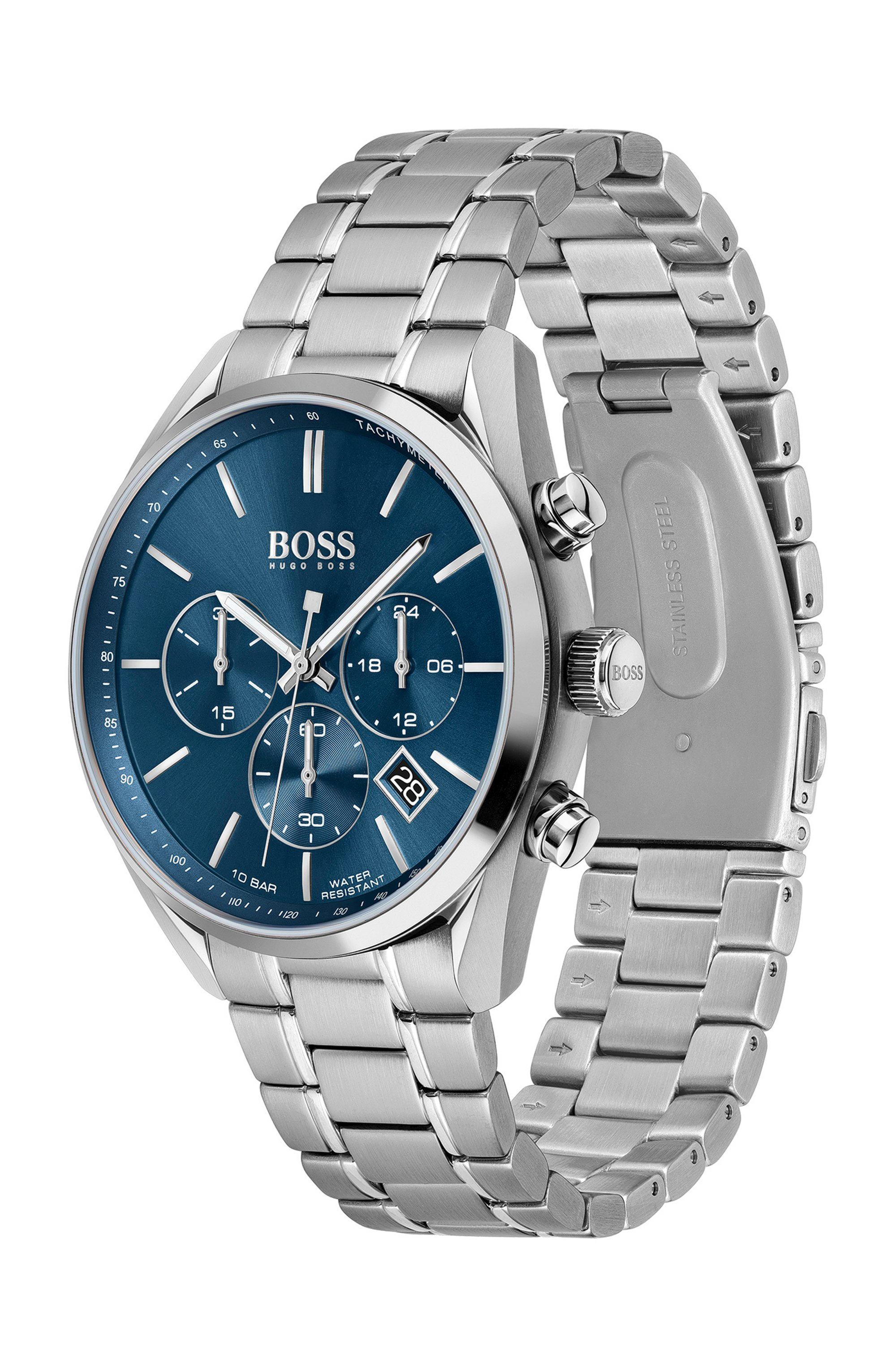 Stainless-steel watch with blue dial and link bracelet