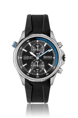 Uhr aus Edelstahl mit strukturiertem schwarzem Silikonarmband, Assorted-Pre-Pack
