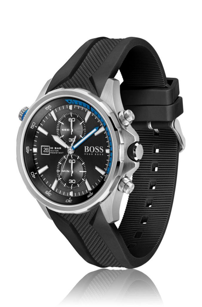Uhr aus Edelstahl mit strukturiertem schwarzem Silikonarmband