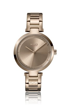 Beige-gold-effect watch with logo link, Assorted-Pre-Pack