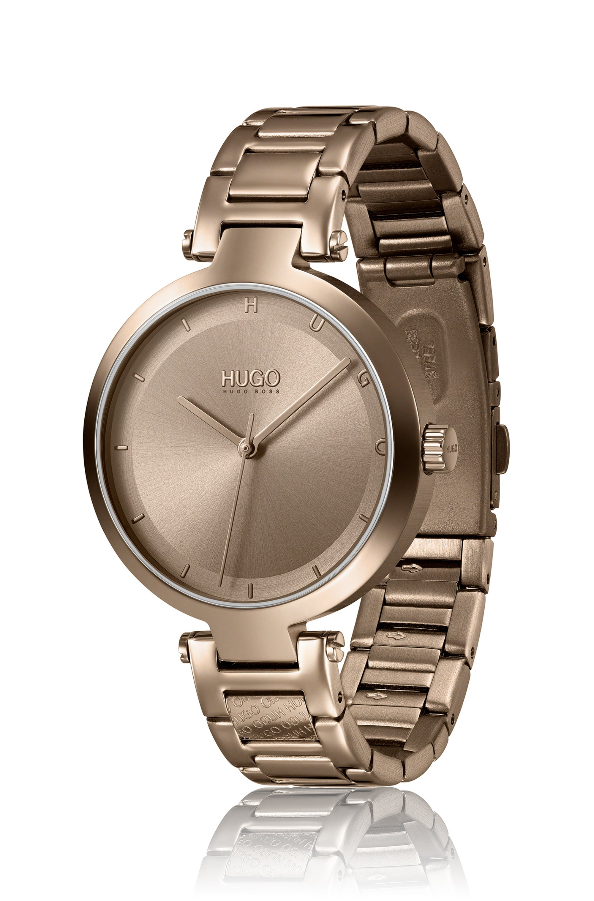 Beige-gold-effect watch with logo link