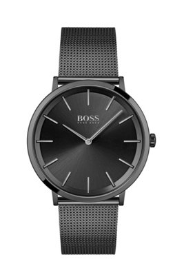 Black-plated two-hand watch with mesh bracelet, Assorted-Pre-Pack