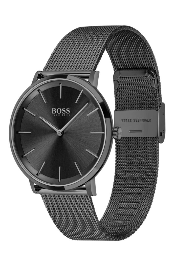 Black-plated two-hand watch with mesh bracelet