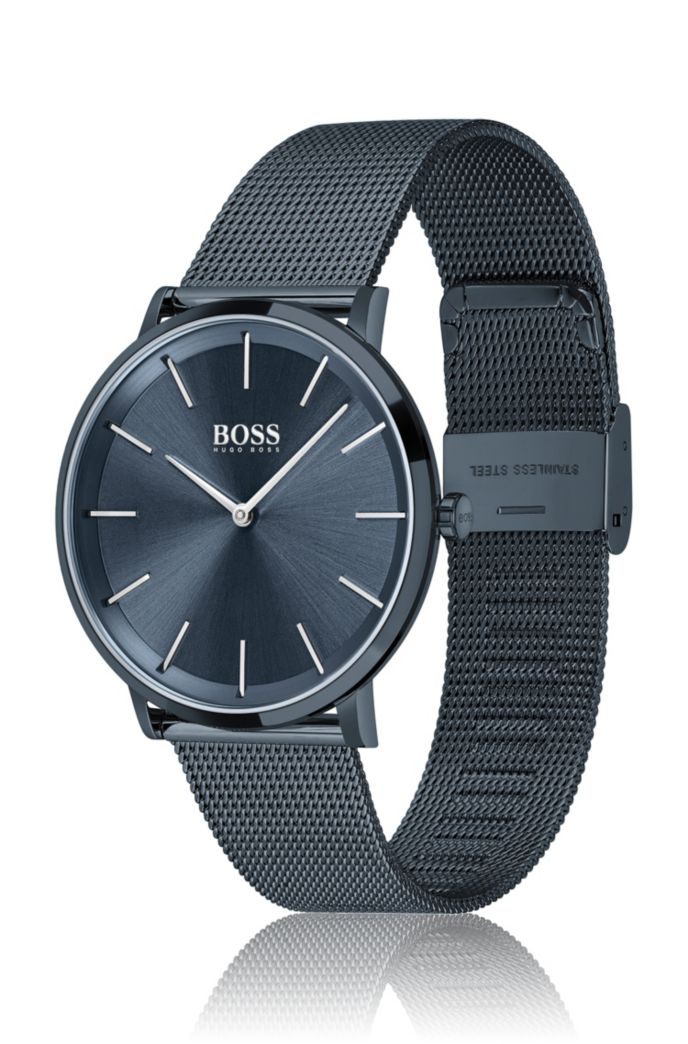 Blue-plated watch with mesh bracelet
