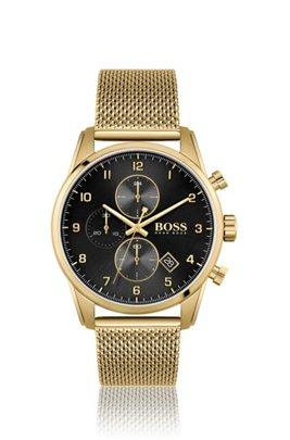 Montre couleur or jaune avec bracelet en maille milanaise, Assorted-Pre-Pack