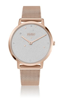 Crystal-studded watch with carnation-gold finish, Assorted-Pre-Pack