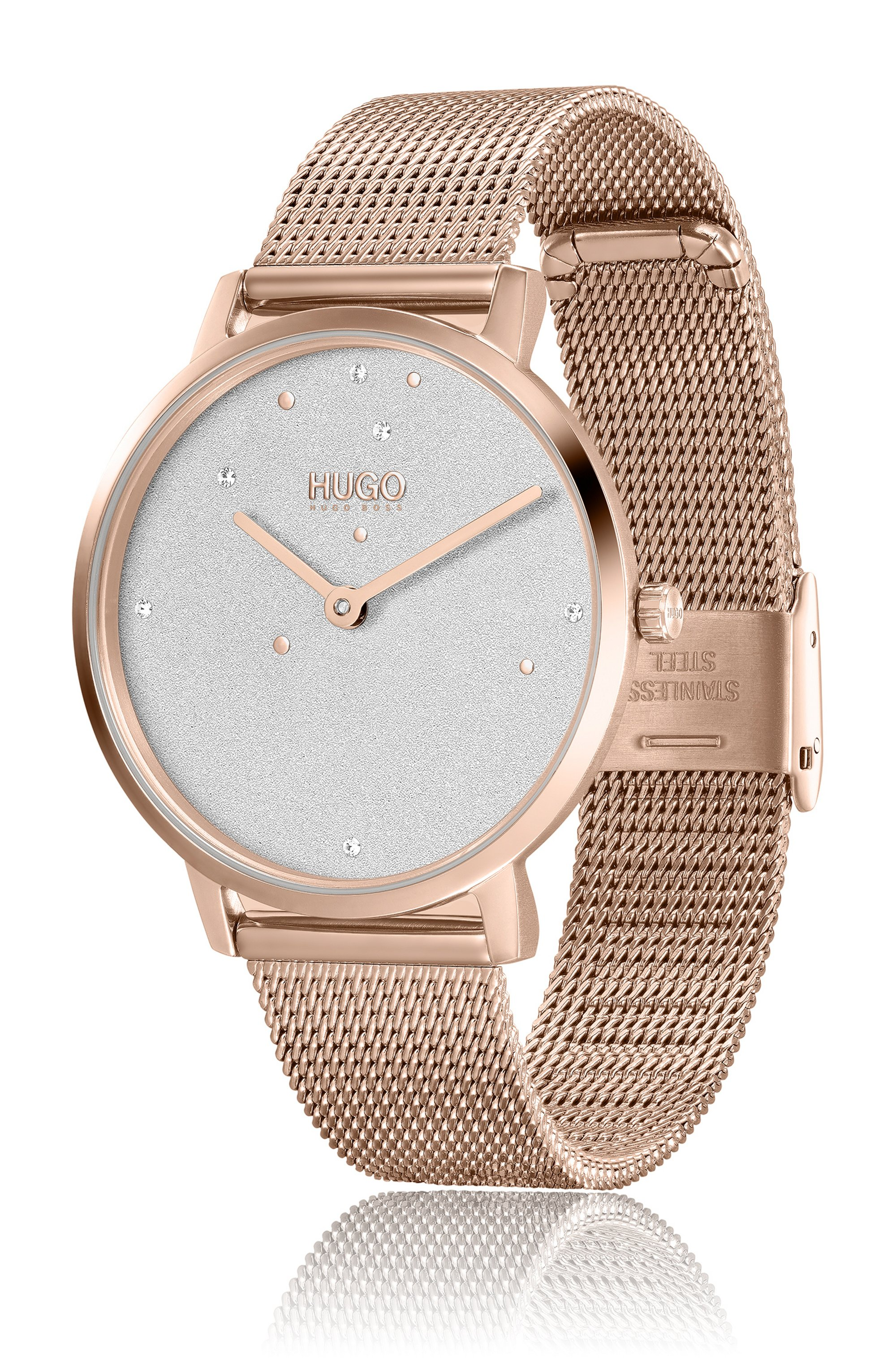 Crystal-studded watch with carnation-gold finish