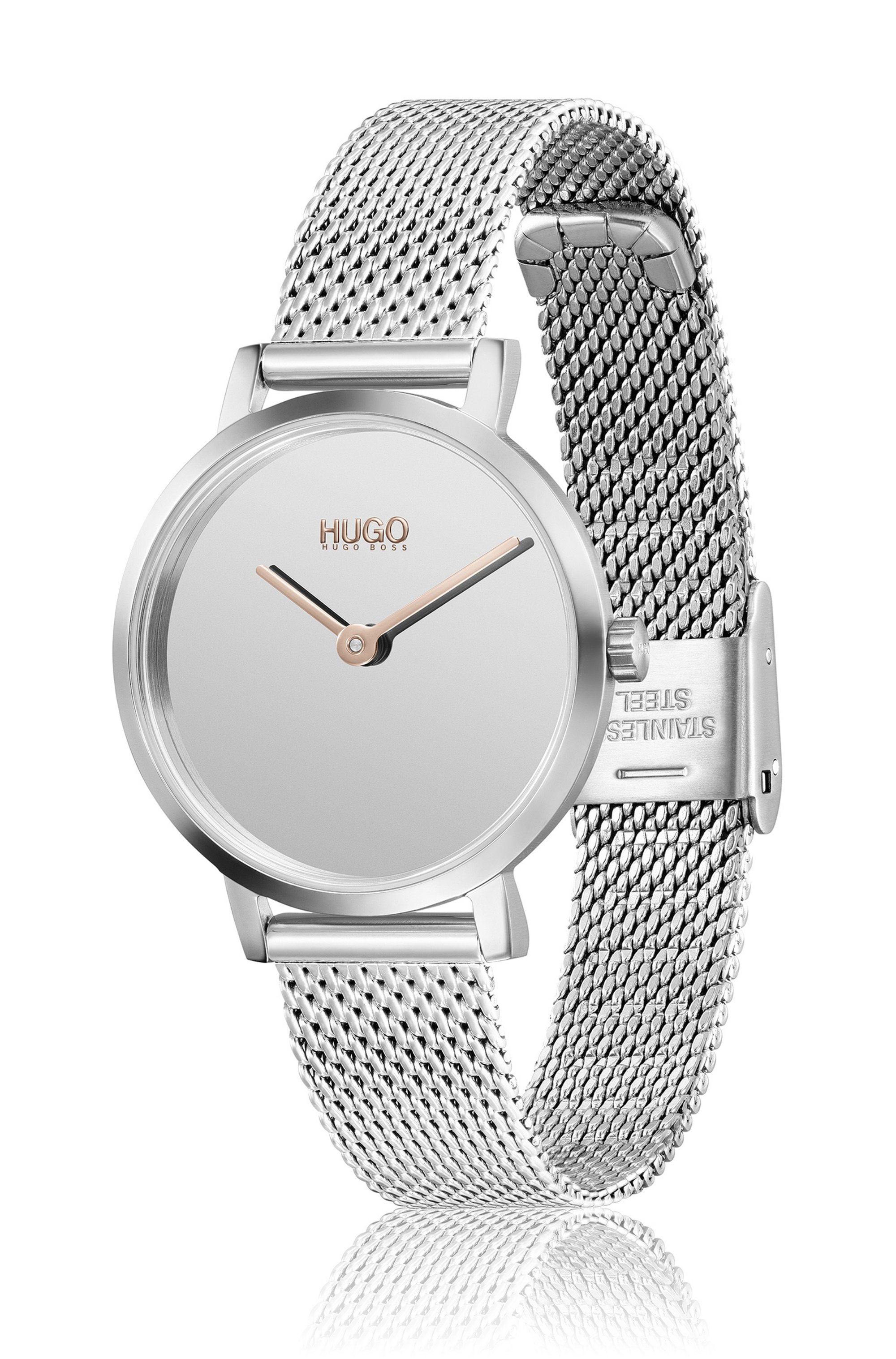 Mirror-dial two-hand watch with silver finish