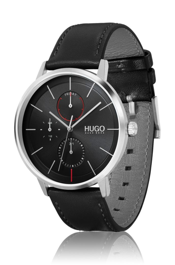 Leather-strap watch with ultra-slim case